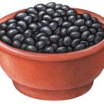 Terra cotta bowl with black beans.