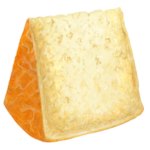 Parmesan cheese wedge standing on end.