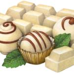 White chocolate bar and truffles.