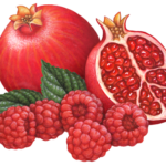 Whole pomegranate and one cut half with five raspberries and leaves.