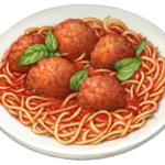 Wwhite plate of spaghetti and meatballs