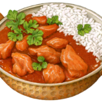 Chicken Tikka Masala in a copper pan.